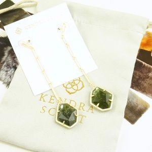 Kendra Scott sage mica drop earrings green gold